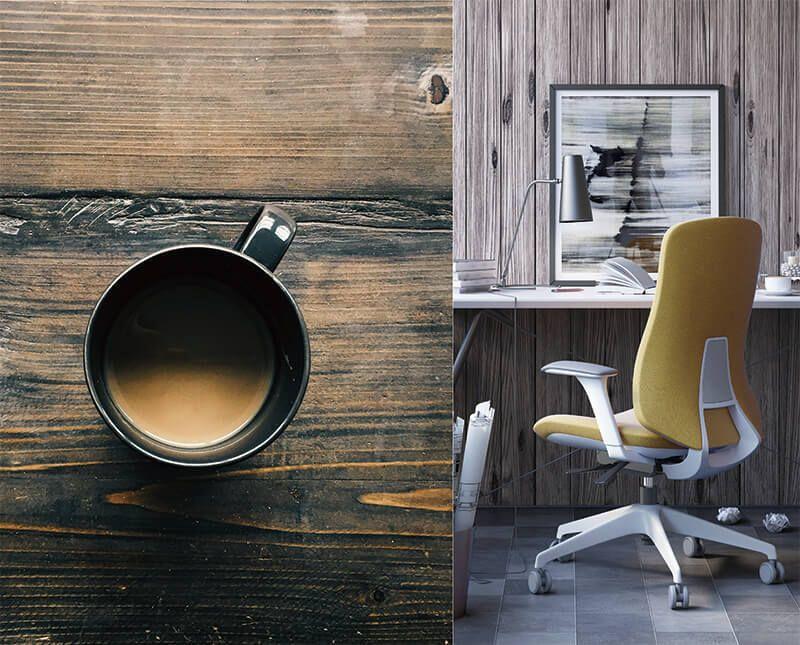 silla escritorio allegra tapizada ambientada mostaza