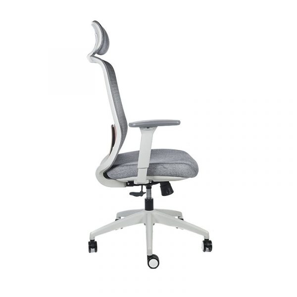 silla escritorio Diva gris con cabecero apoyo rojo 3