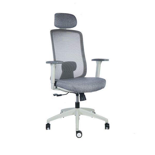 silla escritorio Diva gris con cabecero apoyo azul 2