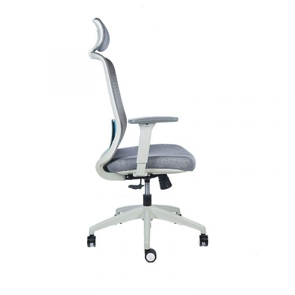 silla escritorio Diva gris con cabecero apoyo azul 3