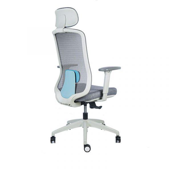 silla escritorio Diva gris con cabecero apoyo azul 4