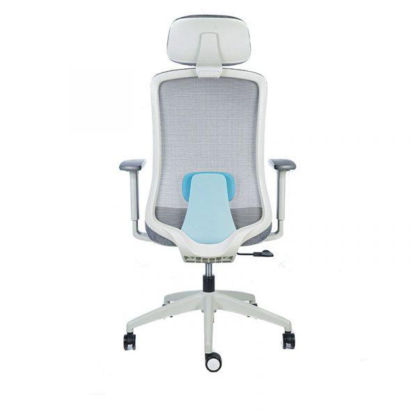 silla escritorio Diva gris con cabecero apoyo azul 5