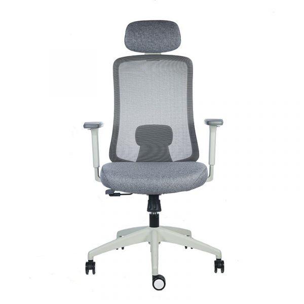 silla escritorio Diva gris con cabecero apoyo verde 1