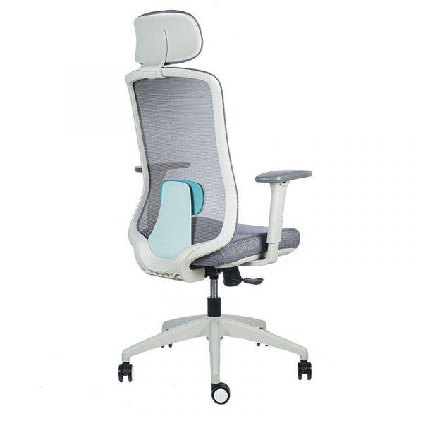 silla escritorio Diva gris con cabecero apoyo verde 4